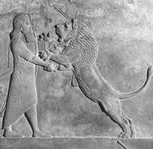 Царская охота на льва [Рельеф из дворца Ашшурбанапала]