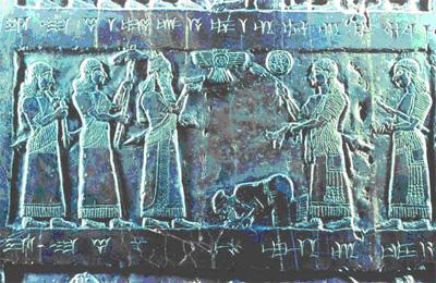 Владыка Ассирии принимает дань от царя Израиля [Рельеф из дворца в Кальху. IX в. до н. э.]