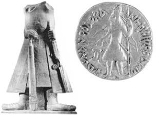 Кушанский царь Канишка [Фрагмент статуи и золотая монета. II в.]